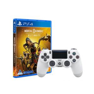 PS4 DualShock Wireless Controller (White) + Mortal Kombat 11 Ultimate (PS4)